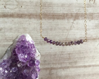 Dainty Birthstone Necklaces,amethyst bead necklace,Genuine Simple,amethyst necklace,Delicate Necklace,Dainty Necklace,Gift for Mom,positive