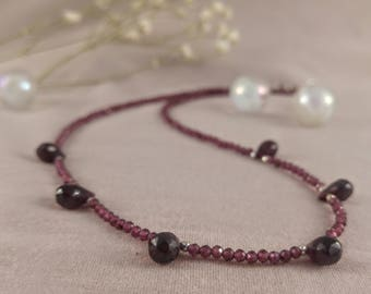 Necklace with garnet shaped teardrops, 925 sterling silver