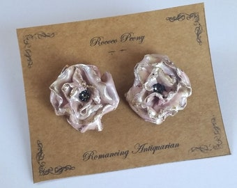 Pink Peony, Rose Silver Earring Studs, Handcrafted Floral Jewelry