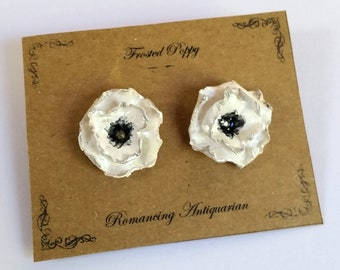 White Poppy Flower Silver Earring Studs, Handcrafted Floral Jewelry