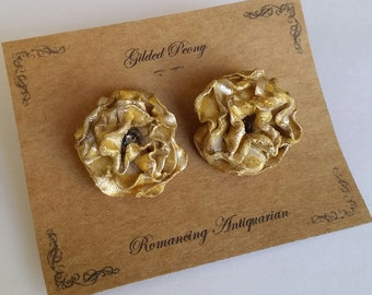 Gold Peony Silver Earring Studs, Handcrafted Floral Jewelry