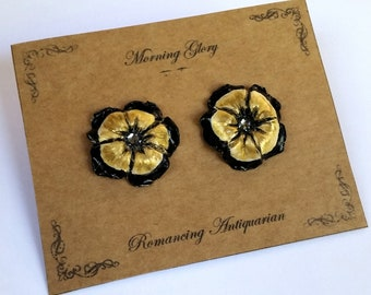 Gold/Black Morning Glory Flower Silver Earring Studs, Handcrafted Floral Jewelry