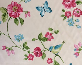 Blue Bird and Pink Flower Fabric