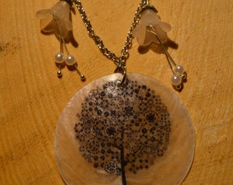 Necklace with necre medalion and lucite bellflowers