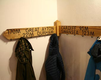 Corner Coat Rack, Solid Oak,Corner coat hanger, Personalised coat rack, Bespoke oak coat hanger. Hand made in England