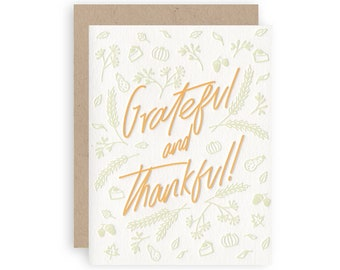 Grateful And Thankful- Letterpress Holiday Greeting Card