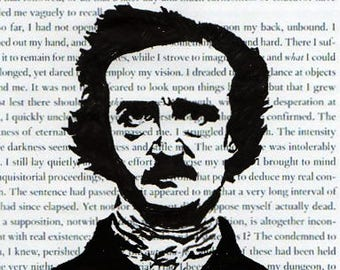 Edgar Allan Poe Hand Sketched Digital 6x4 Postcard