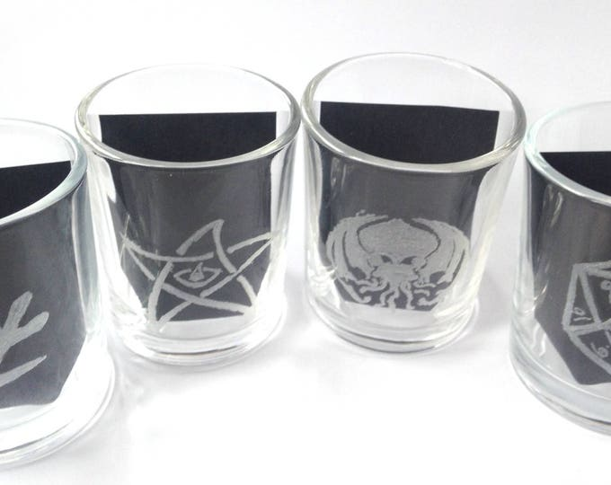 Featured listing image: Eldritch Essences Hand Engraved Votive Holders
