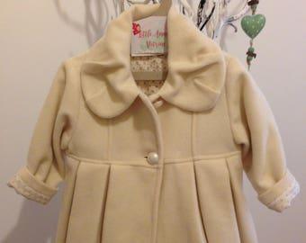 Baby girl coat, Christening coat, Baby gift, Beige baby coat, Baptism baby coat, Christmas baby coat, Toddler coat, Luxurious baby coat