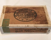 Unique Vintage 1926 Goldens Blue Ribbon 5 cent Decorative Wood Cigar Box - 9-3 8 quot X 5-5 8 quot X 2-3 4 quot - FREE SHIPPING