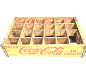 Vintage 1965 Yellow Coca Cola Chattanooga Wood Bottle Crate - 18-3 8 quot Long x 12 quot Wide x 4 quot High