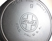 Vintage Griswold 9 Slant Logo Heat Ring 710 H ERIE Pa USA Cast Iron Skillet - circa 1920 - 1940