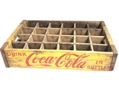 Vintage 1963 Yellow Coca Cola Chattanooga Wood Bottle Crate - 18-3 8 quot Long x 12 quot Wide x 4 quot High