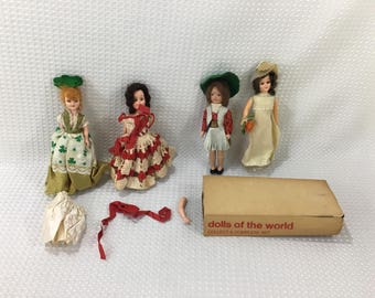 "Lot of 4 Vintage 7"" to 8"" Dolls - FREE SHIPPING!!"