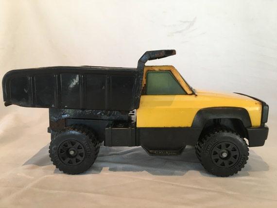 Vintage 1993 tonka camion benne basculante noir jaune etsy - Camion benne tonka ...