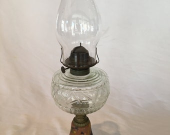 Vintage Steel Base Hand Painted Hurricane Lamp with Eagle Burner - Unique