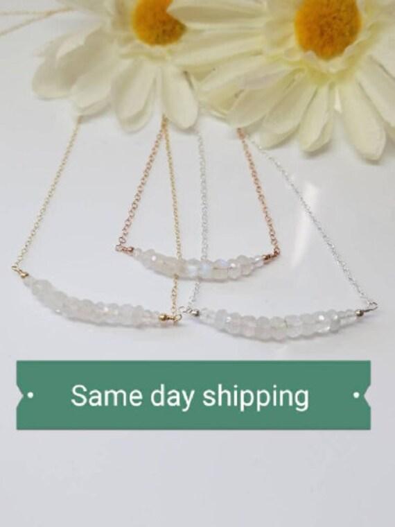 Moonstone Necklace June Birthday Gift For Her Gemstone Bar