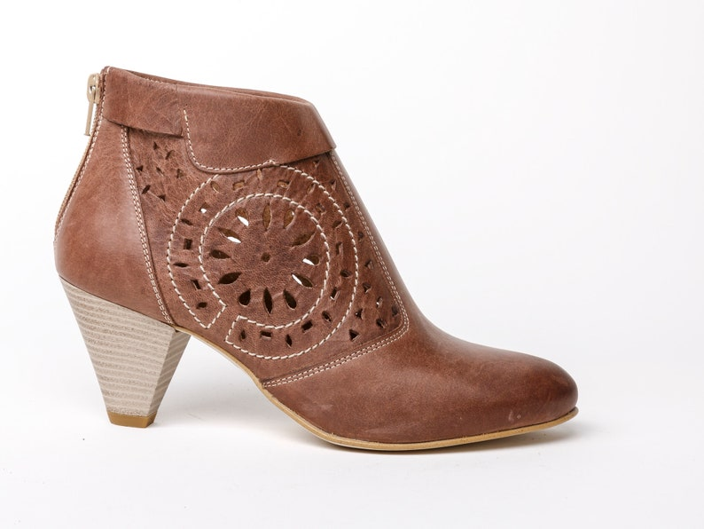 7c211b9e37551 Womens Leather ankle boots, antique brown leather booties, high heel  booties, laser cut leather dark boots floral decorated, gift for her