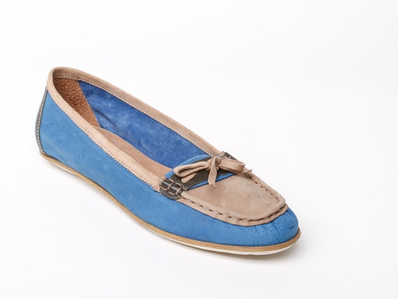 Women s leather shoes women s loafers blue flat