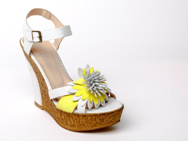 Womens leather SANDALS with platform white yellow platform SANDALS with flower,leather wedges white yellow SHOES floral decorated,gift for h