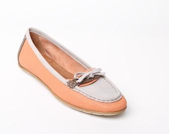 Women's leather SHOES, women's loafers, orange flat SHOES, orange flats, orange loafers, leather loafers, leather flats, rubber sole shoes