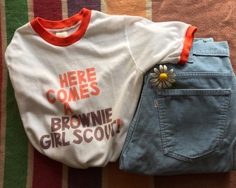 913708289ef Brownie Scout Girl Scouts Vintage Graphic Ringer Tee   Mens Womens XS Extra  Small Kids L 14   5050   White Orange Brown 70s 1970s Seventies
