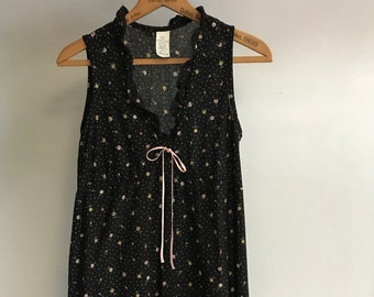 f498264464 Vintage Night Gown Dress   Nightgown   Womens Small   80s 1980s Eighties    Summer Dress   Floral   Long   Maxi Dress   Maxidress   Black