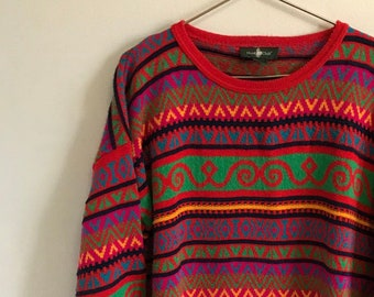 c757b541267 Striped Pullover Vintage Sweater   Oversized   Mens Womens XXL Extra Large  Stripes Jumper   Nineties 90s 1990s   Ugly Christmas   Dress Red