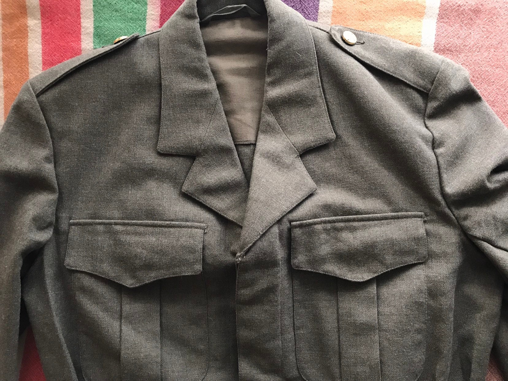 Belgium 1967 Belgian Military Jacket PVBA Begetex Vintage Militaria Battle  Dress Uniform / 60s 1960s Sixties / Cropped Olive Green / Medium