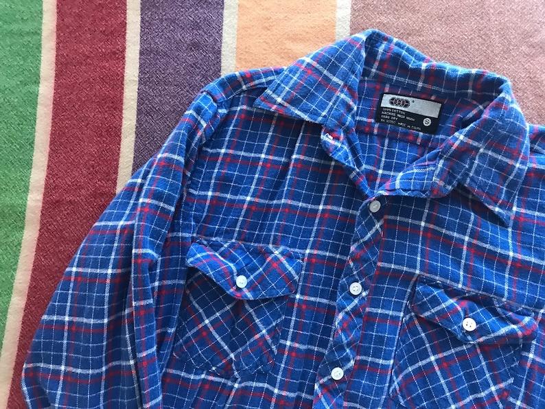 Flannel Plaid Vintage Button Up Shirt  Blue Red  Oxford  Mens Womens Medium Large  80s 1980s Eighties  Cowboy Utility Farm  Work Wear