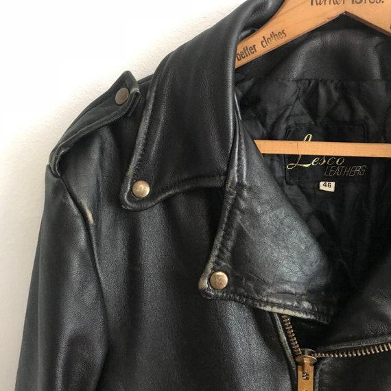 Large 80s Lesco 46 Eighties Sz Biker Mens Jacket Black Womens Punk Classic Leather Leathers Vintage 1980s Coat Motorcycle zpFXwq0n