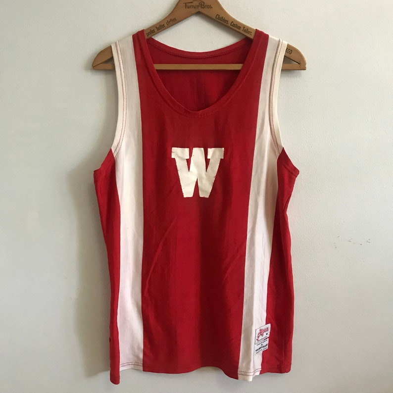 812660f05c63 Wisconsin Badgers Vintage Basketball Jersey Sleeveless Scoop