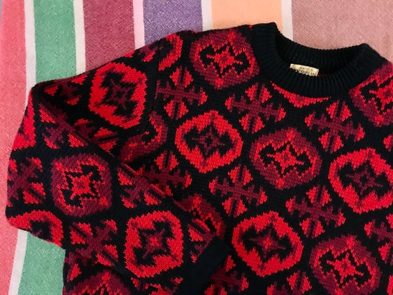 Vintage Knit Wool Ski Sweater / Red Black / 60s /