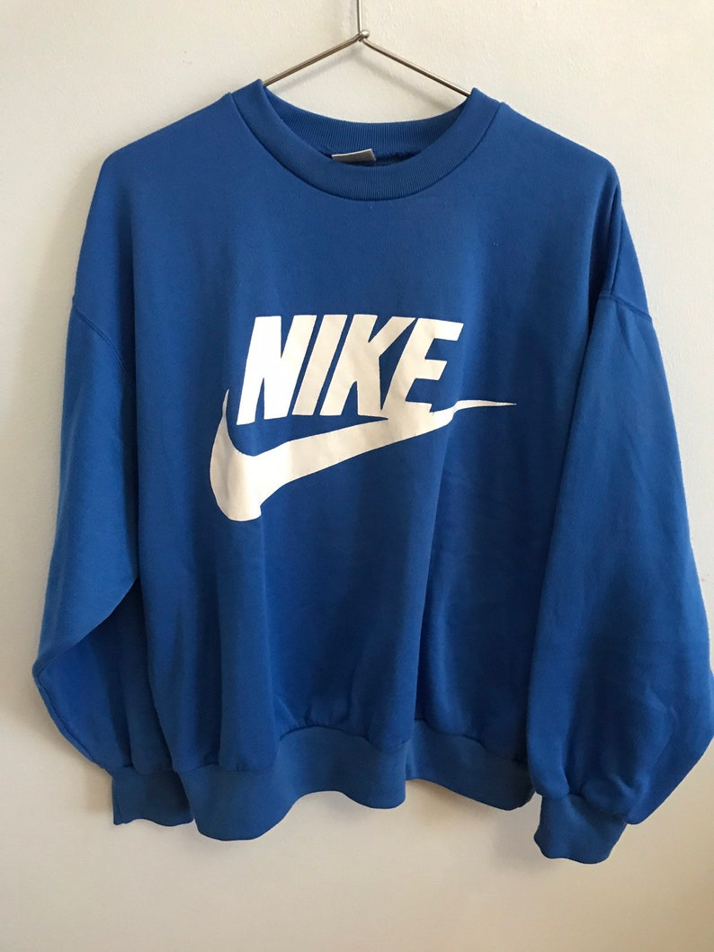 0404e61c298b5 Vintage Nike Spell Out Graphic Sweatshirt / Blue White / Pullover Crewneck  / 90s 1990s Nineties / Mens Womens Large / Swoosh / Just Do It