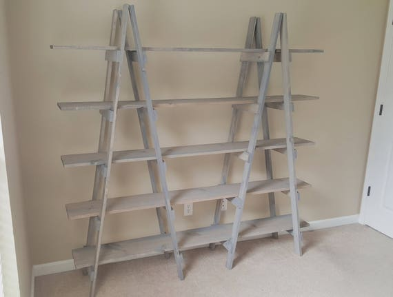 hot sales 62458 cb73b Double Ladder Shelf - 7 ft - Wood Ladder - Craft Show Display - Decorative  Ladder - Portable Display - Wood Ladder Shelf