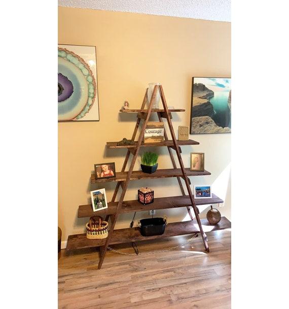 Ladder Shelf 6 Ft Wood Ladder Craft Fair Display Rustic Bookshelf Decorative Ladder Portable Display Wood Shelf Ladder Bookcase