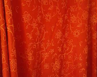 Festive Red and Gold Satin Curtains