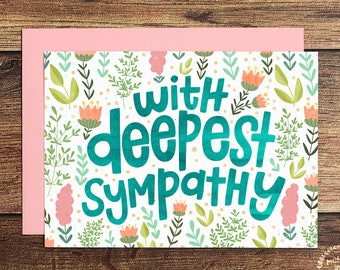 With Deepest Sympathy Greeting Card, Floral Condolence Card   Sympathy Card