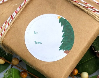 Illustrated Christmas Tree Label Gift Tags To/From/Love - Adhesive Sticker Tags