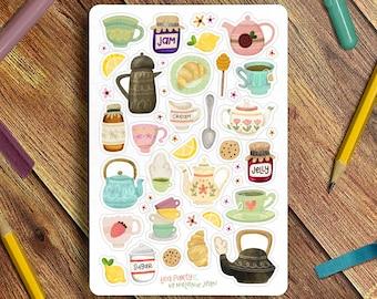 Spring Tea Time Sticker Sheet, Tea Hygge Sticker Sheet - Great for Bullet Journaling, Planners, Kids, Fun!