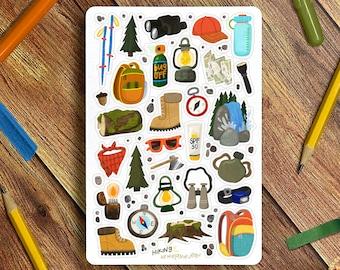 Hiking Sticker Sheet - Great for Bullet Journaling, Planners, Kids, Fun!