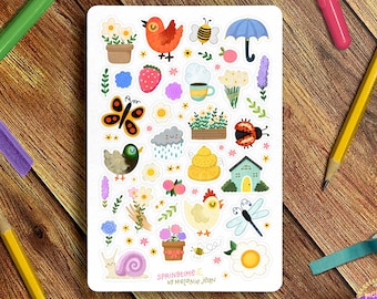 Springtime Sticker Sheet - Great for Bullet Journaling, Planners, Kids, Fun!