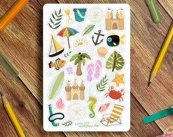 Beach Trip Sticker Sheet - Great for Bullet Journaling, Planners, Kids, Fun!