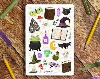 Witchy Vibes Sticker Sheet - Great for Bullet Journaling, Planners, Kids, Fun! Scrapbooking Sticker Sheet, Crafter's Sticker Sheet