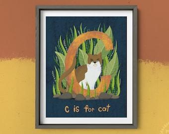 C is for Cat   Animal Alphabet Art Print, 4 x 6 Art Print, 8 x 10 Art Print, Nursery Room Art, Elementary School Art, Preschool Art
