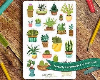 Succulent Sticker Sheet   Bullet Journal Sticker Sheet, Cute Sticker Sheet, Plant Lover Stickers