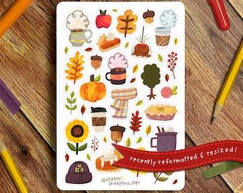 Fall Aesthetic Sticker Sheet - Great for Bullet Journaling, Planners, Kids, Fun! Scrapbooking Sticker Sheet, Crafter's Sticker Sheet