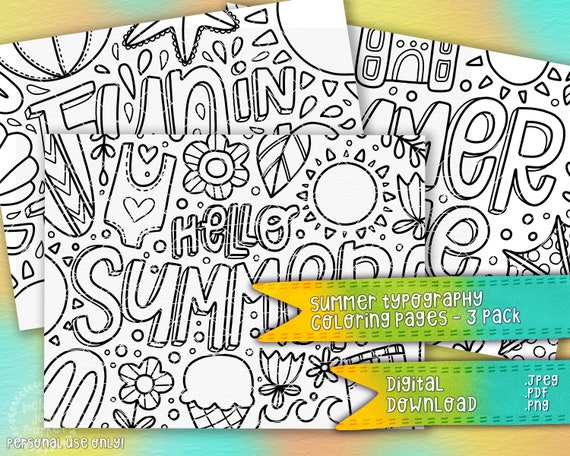 Summer Typography Coloring Pages 3 Pack  Seasonal Coloring