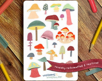 Mushroom Sticker Sheet   Bullet Journal Sticker Sheet, Cute Sticker Sheet