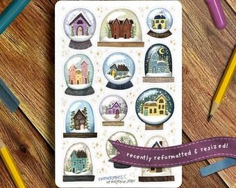 Winter Snowglobes Sticker Sheet, Winter Sticker Sheet - Great for Bullet Journaling, Planners, Kids, Fun!